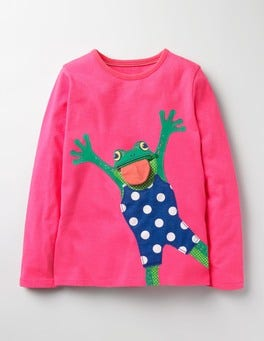 Dragonfruit Pink Frog River Bank Appliqué T-shirt