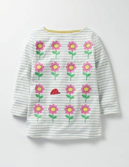 Ecru/Wren Blue Flowers Odd One Out T-shirt