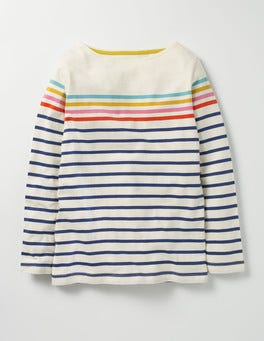 Navy/Ecru Rainbow Colourfully Stripy T-shirt