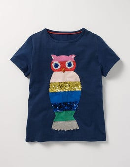 School Navy Owl Sequin Rainbow T-shirt