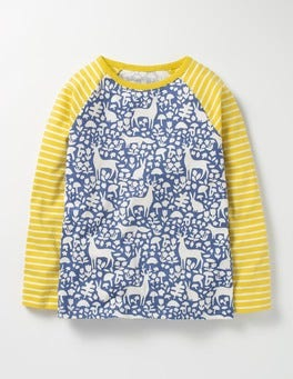 Washed Bluebell Blue Woodland Hotchpotch Raglan T-shirt