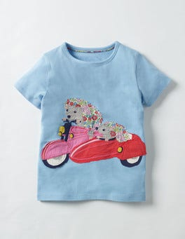 Frosted Blue Hedgehog Patchwork Appliqué T-shirt