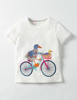 Ecru Ducks Patchwork Appliqué T-shirt