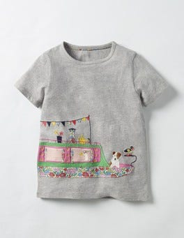 Grey Marl Canal Boat Patchwork Appliqué T-shirt