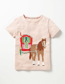 Provence Dusty Pink Horse Patchwork Appliqué T-shirt