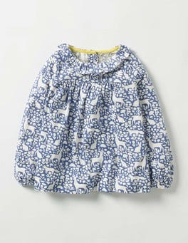 Washed Bluebell Blue Woodland Pretty Printed Top