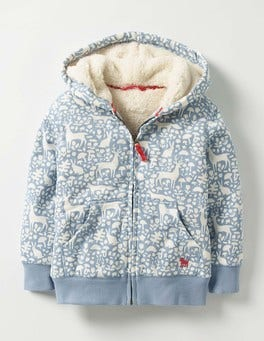 Wren Blue Woodland Printed Shaggy-lined Hoodie
