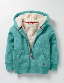 Duck Egg Blue Spot Printed Shaggy-lined Hoodie