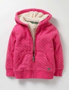 Honeysuckle Pink Spot Printed Shaggy-lined Hoodie