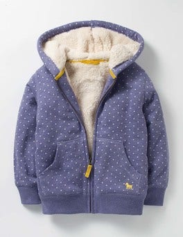 Dark Wisteria Purple Spot Printed Shaggy-lined Hoodie