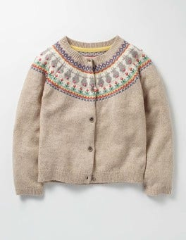 Oatmeal Marl Bunnies Fair Isle Cardigan