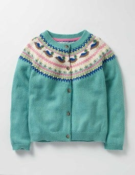 Duck Egg Blue Ducks Fair Isle Cardigan