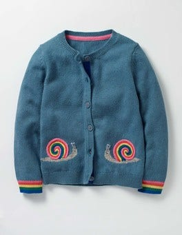 Azure Blue Marl Snails Fun Cardigan
