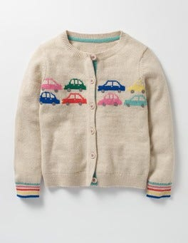 Ecru Marl Cars Fun Cardigan