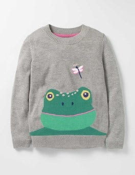 Grey Marl Frog Fun Sweater