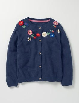 School Navy Crochet Floral Cardigan