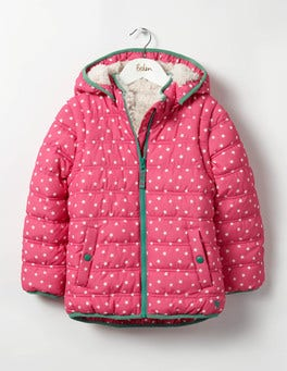 Honeysuckle Pink Stars Cosy Two-in-one Padded Jacket