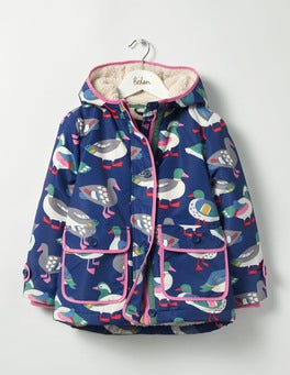 Dark Blue Rainbow Ducks Sherpa-lined Anorak