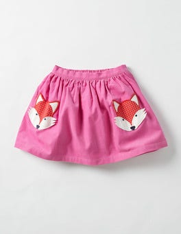 Plum Blossom Pink Fox Animal Pocket Skirt