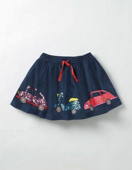 School Navy Sequin Cars Adventure Sequin Skirt