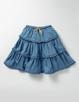Mid Chambray Twirly Frill Skirt