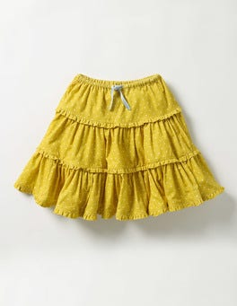 Sunshine Yellow Pin Spot Twirly Frill Skirt