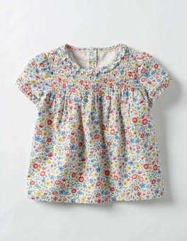 Multi Mini Folk Floral Patterned Smock Top