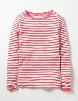 Honeysuckle Pink Sparkly Pointelle T-shirt