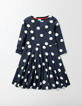 Navy Confetti Spot Jersey Ballerina Dress
