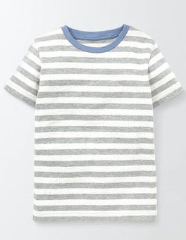 Grey Marl and Ivory Stripe Slub Washed T-shirt