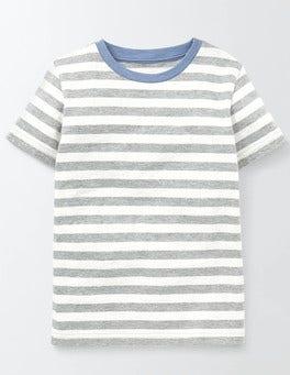 Grey Marl and Ivory Stripe Slub Washed T-shirt