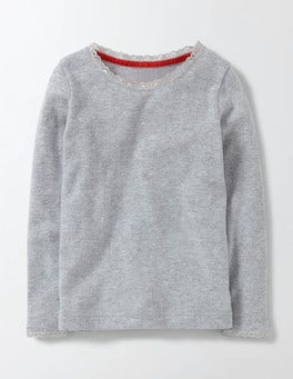 Grey Marl Supersoft Pointelle T-shirt