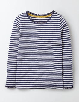 Ivory/Starboard Stripe Supersoft Pointelle T-Shirt