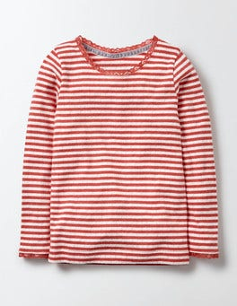 Ivory/Rosehip Stripe Supersoft Pointelle T-Shirt