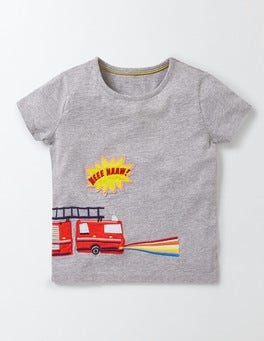 Grey Marl Fire Engine Save The Day T-Shirt