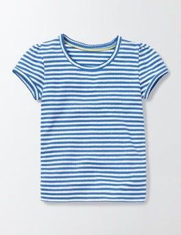 Ivory/Skipper Stripe Short Sleeve Pointelle T-shirt