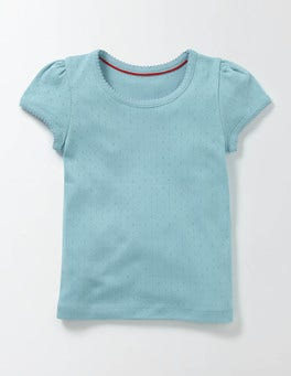 Mineral Blue Short Sleeve Pointelle T-shirt