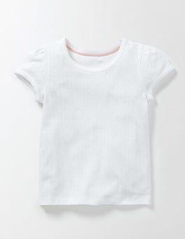 White Short Sleeve Pointelle T-shirt