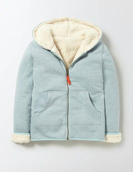 Mineral Blue Marl Reversible Shaggy Zip-Through