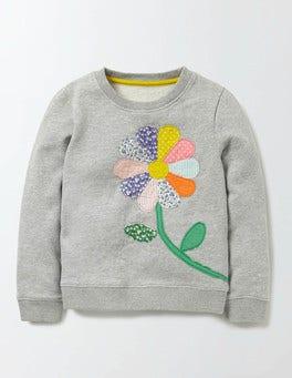 Grey Marl Flower Colourful Appliqué Sweatshirt