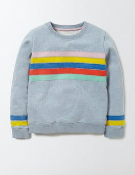 Mineral Blue Marl Rainbow Colourful Appliqué Sweatshirt