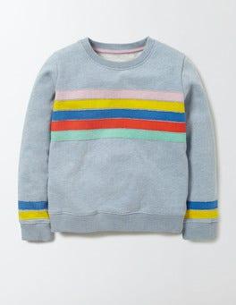 Mineral Blue Marl Rainbow Colourful Appliqué Sweatshirt