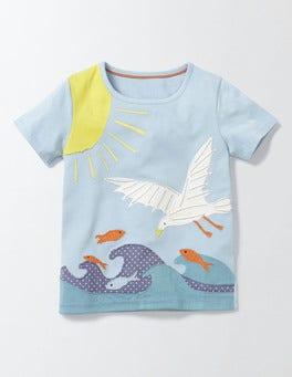 Mineral Blue Seagull Big Appliqué T-Shirt