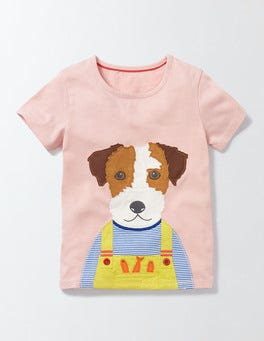 Chalky Pink Dog Big Appliqué T-shirt