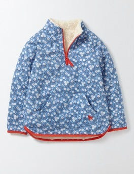 Bright Bluebell Spring Daisy Reversible Teddy Half-Zip