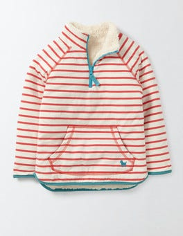 Raspberry Whip/Ivory Stripe Reversible Teddy Half-zip