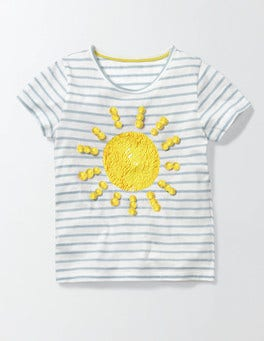 Ivory/Mineral Blue Stripe Sun Colour Change Sequin T-Shirt