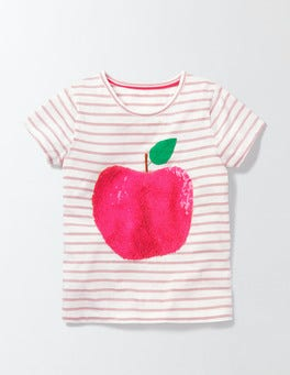 Ivory/Chalky Pink Stripe Apple Colour Change Sequin T-Shirt