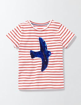 Ivory/Rosehip Stripe Bird Colour Change Sequin T-Shirt