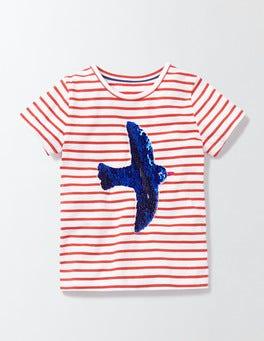 Ivory/Rosehip Stripe Colour Change Sequin T-Shirt